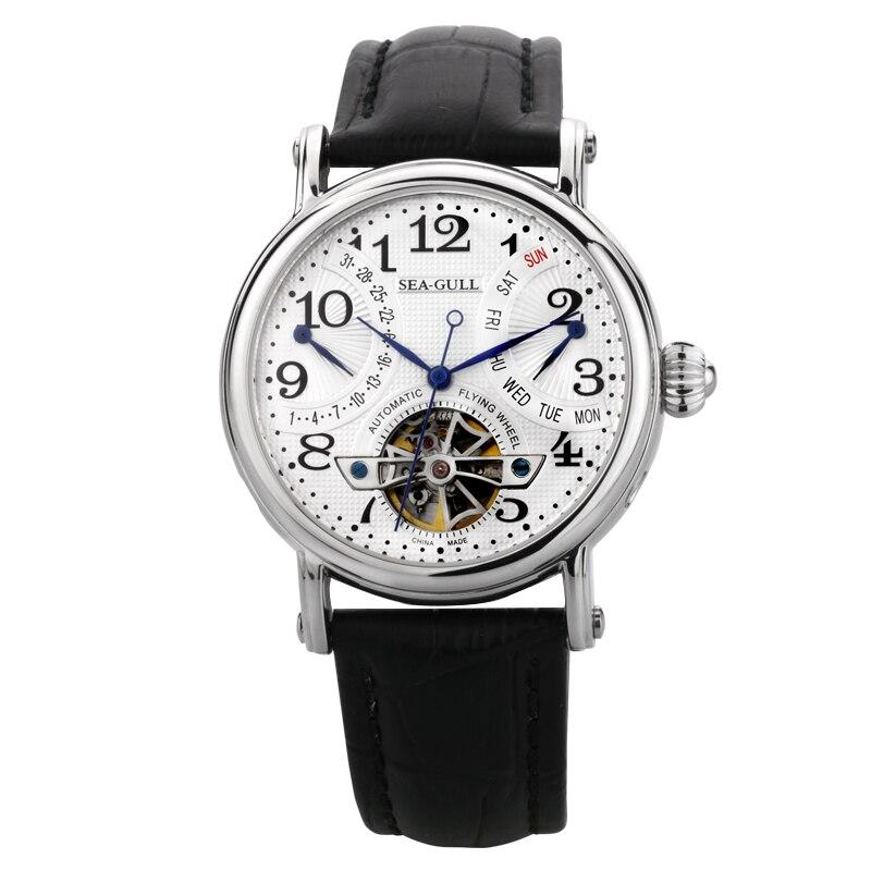 Gaviota volante mecánico reloj doble Retro día fecha reloj automático para hombre M171S exposición espalda azul manos