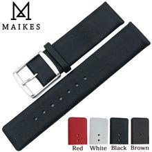 MAIKES, 16mm, 18mm, 20mm, 22mm, correa de reloj de cuero genuino, correa de reloj negra suave fina para CK Calvin Klein