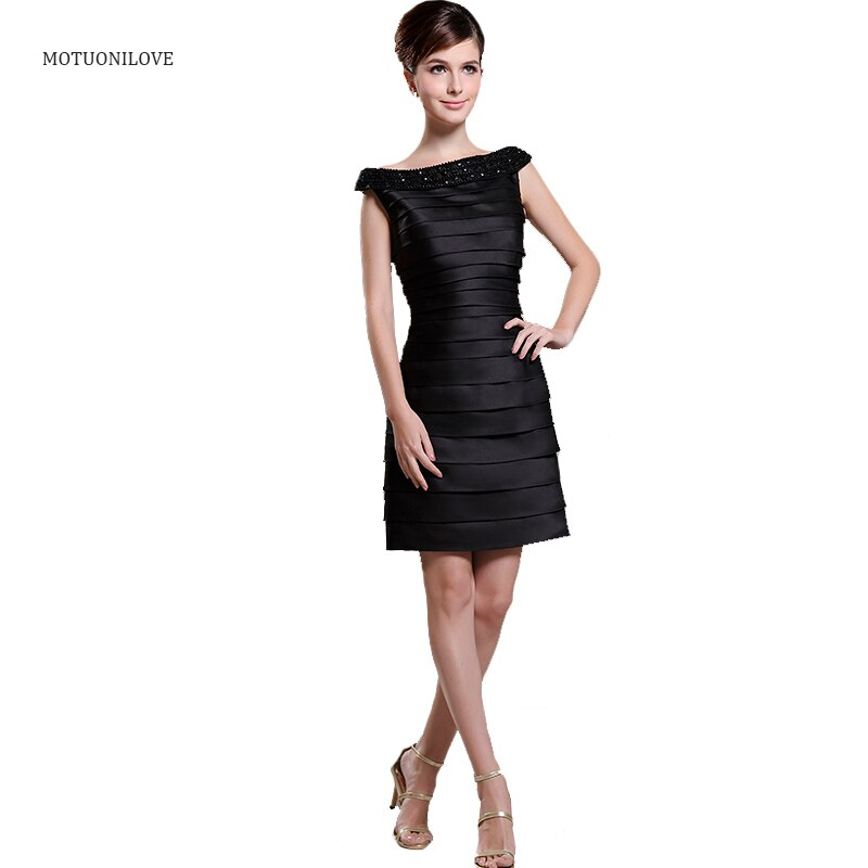 Vestidos De Coctel صورة حقيقية قارب الرقبة الخرز طبقات الساتان رداء حفلات صغيرة أسود قصير أم فستان عروس ثوب رسمي