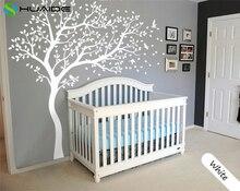 Autocollant grand arbre blanc avec oiseaux volants JW195   Étiquette murale, bricolage, pour bébé et pépinière, 213X210CM, cadeau de tatouage Mural, diy