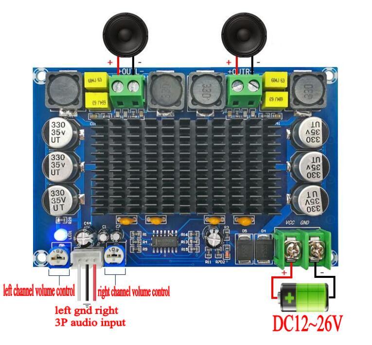 150W * 2 TPA3116 D2 amplificador de potencia de Audio Digital estéreo de doble canal con TL074C OPAMP