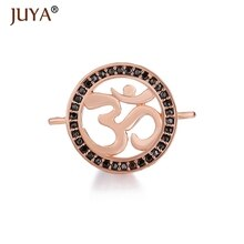 Ouro rosa ohm om charme pingentes conectores diy colar pulseiras & pulseiras conector jóias encontrando acessório
