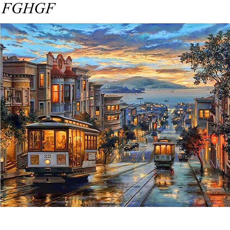 FGHGF pintura al óleo abstracta de noche sin marco calle de Europa Diy por números pintura al óleo pintada a mano por números para sala de estar