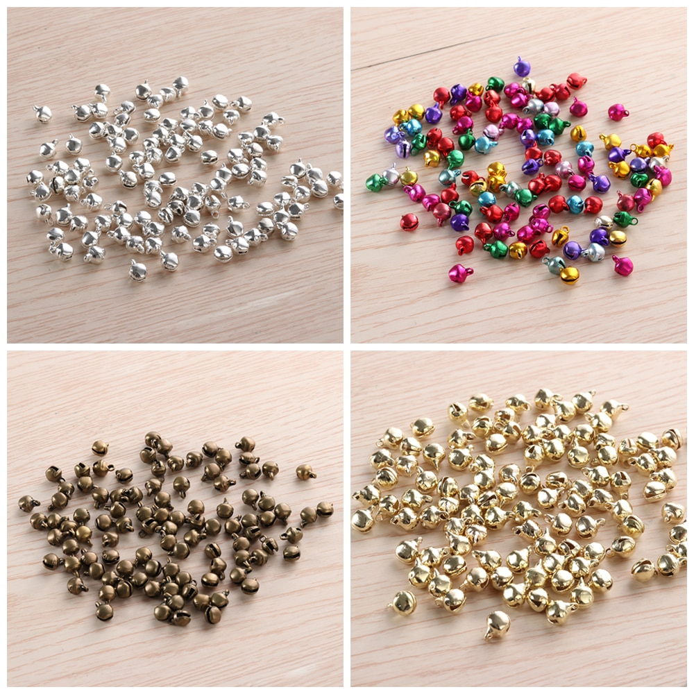 100 unids/lote nuevas campanas de Navidad mezcla de colores cuentas sueltas pequeñas cascabeles regalo de decoración de Navidad