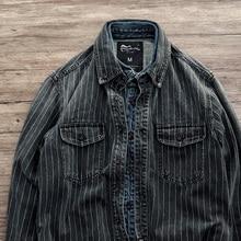 Hommes printemps et automne marque de mode Vintage japon Style sable lavage rayure à manches longues Denim chemise mâle décontracté épais teint chemise