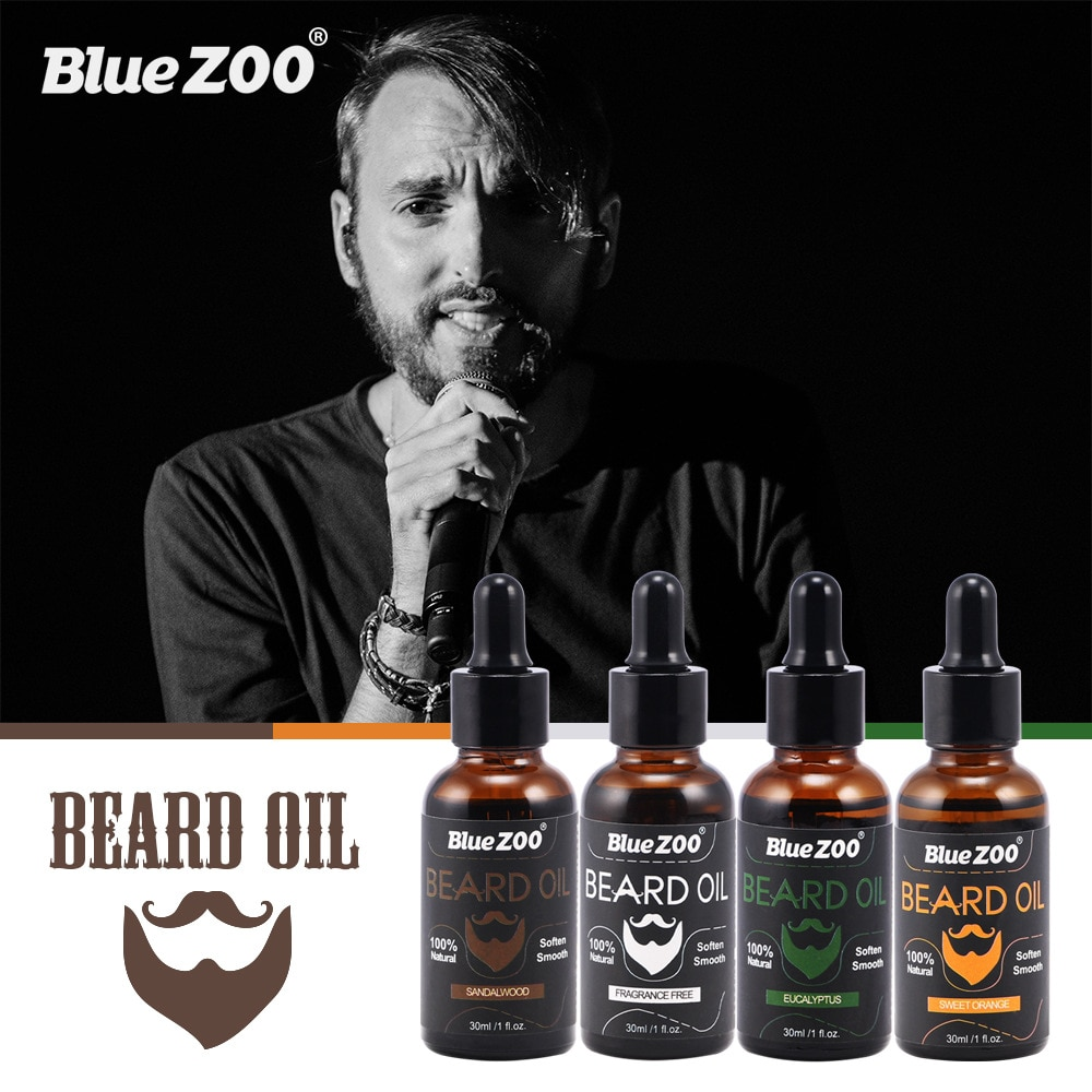 Jardim zoológico azul 30ml óleo de barba 4 gostos bálsamo de cera de barba natural produtos de perda de cabelo ferramentas de cuidados de saúde crescimento de barba preparado venda quente