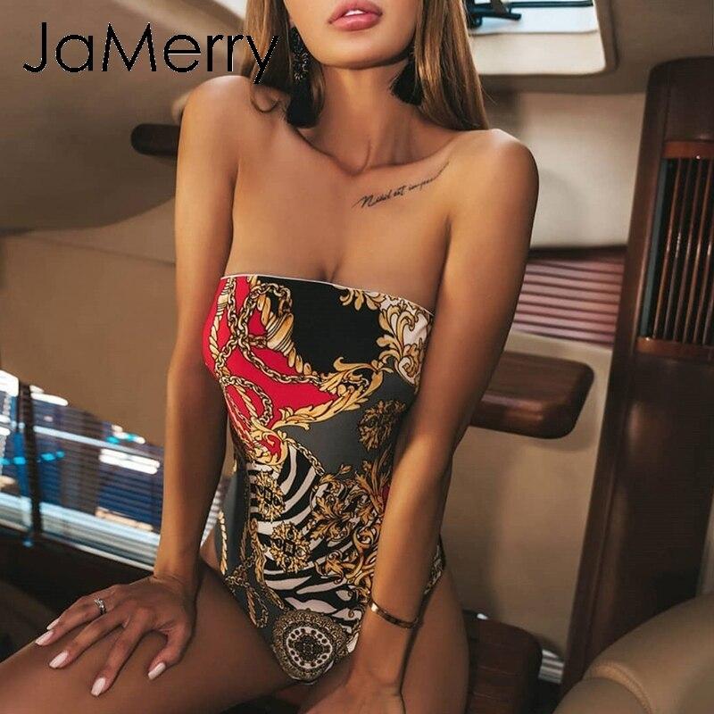 JaMerry Vintage boho sexy sleeveless print one piece women swimsuit bodysuit High summer swimwear Holiday beach wear bikini 2019