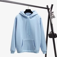 2018 fashion solid color autumn and winter plus velvet loose womens sweatshirt hooded collar long sleeve casual sky blue hoodie