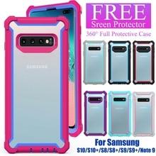 Nouveau coloré 360 étui pour samsung Galaxy S10 S10e S8 S9 Plus Note 9 couverture avec protecteur décran gratuit