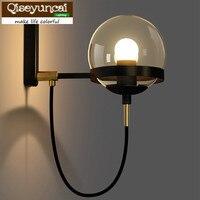Qiseyuncai 2018 new American Restaurant Cognac Glass Ball Bronze Circle Wall Lamp Postmodern Retro Hotel Lobby Simple Lighting