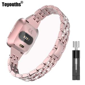 Toyouths Slim Bling Bands For Fitbit Versa Bands Women Men Watch Band Wristband Strap Bracelet for Fitbit Versa Accessories