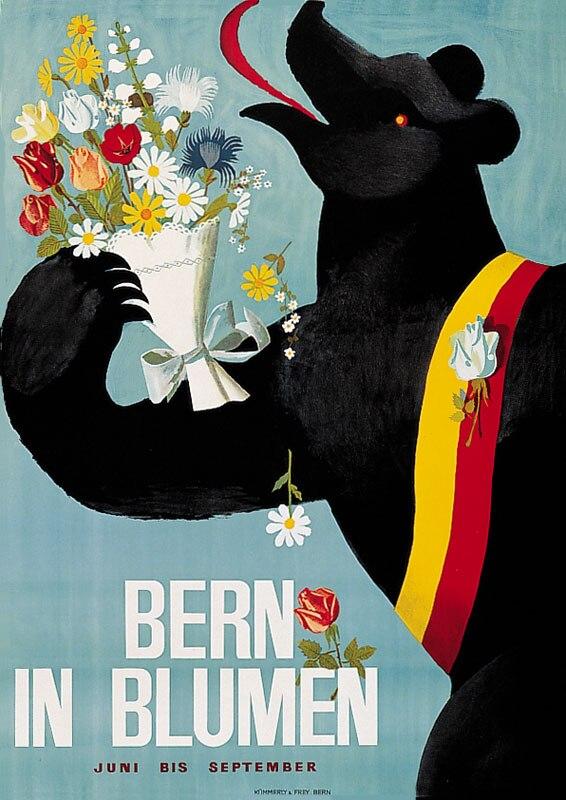 Carteles de Turismo de Berna suiza en Blumen, pegatinas clásicas para pared, póster vintage de pintura, decoración de Bar para el hogar, regalo