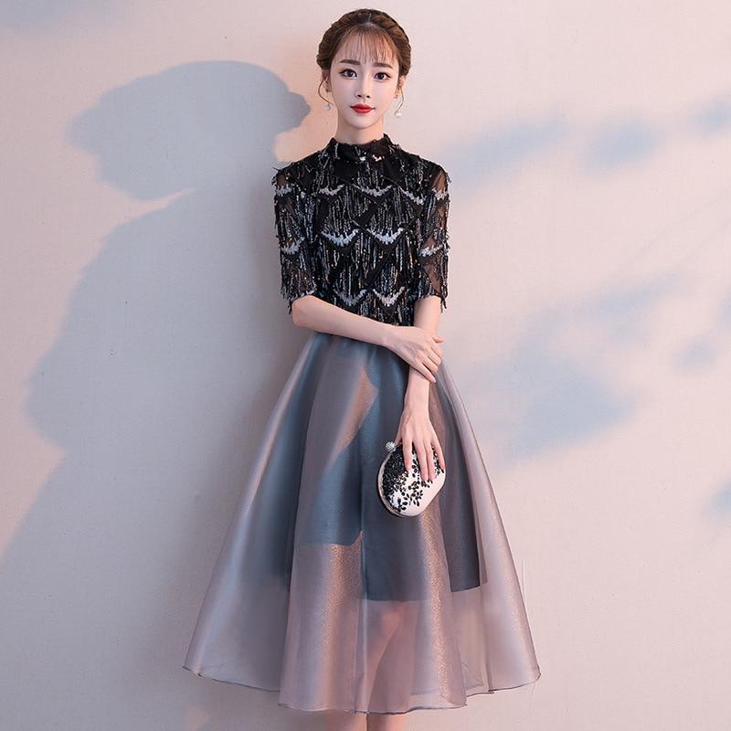 فستان سهرة نسائي ، فستان حفلات صغير ، نحيف ، أسود ، طويل ، مجموعة جديدة 2020