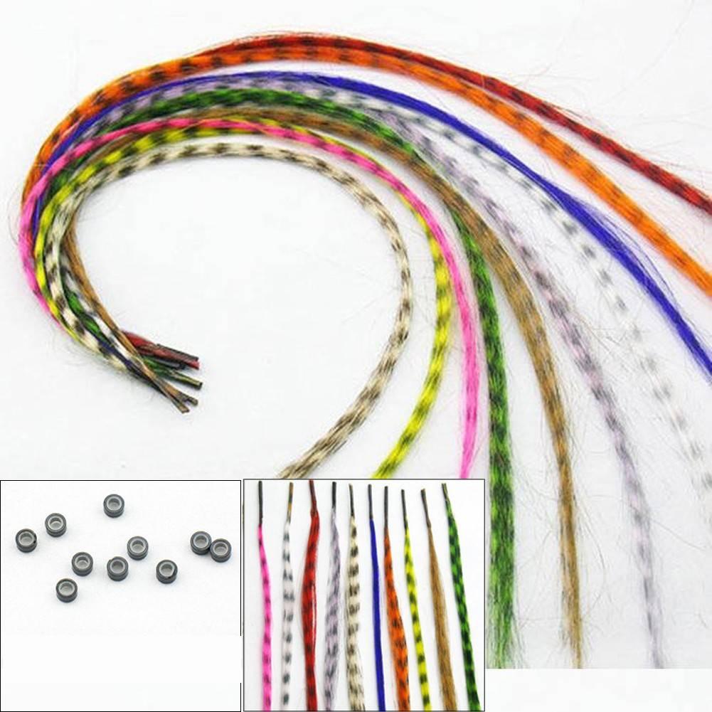 10 pçs 16 Polegada penas de cabelo sintético multicolorido extensões de cabelo humano festa acessórios de cabelo diy artesanato decoração enviado aleatório