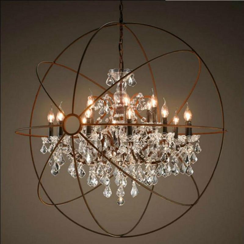 Vintage Orbital K9 Crystal Chandelier Lamp DIY American Home Deco Living Room Retro Rust Iron luxury Chandelier Lighting Fixture