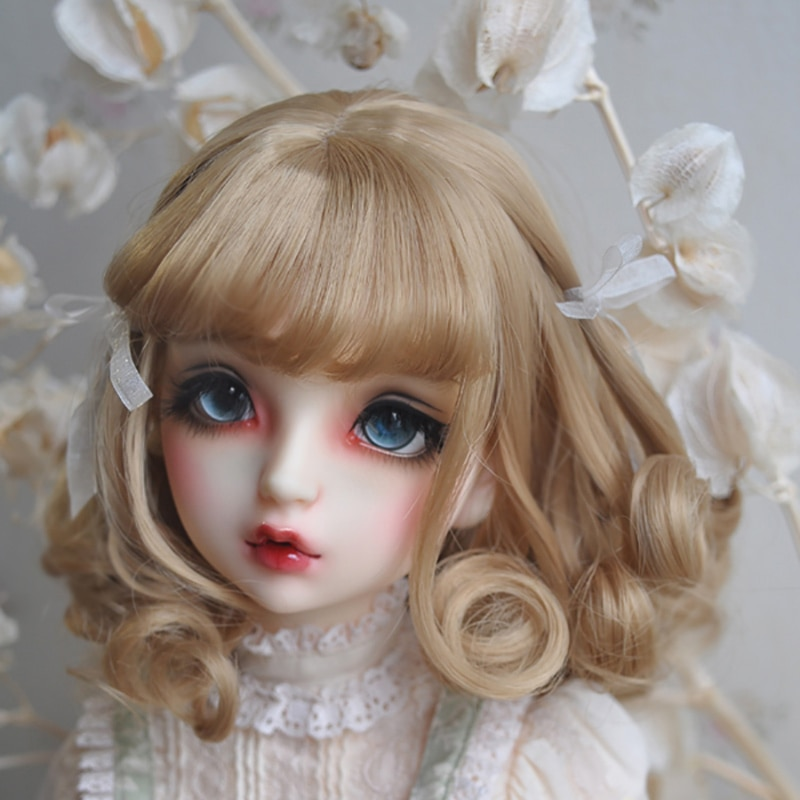 Cateleya bjd peruca 1/3 1/4 1/6 estilo europeu fita de cabelo curto encaracolado boneca peruca