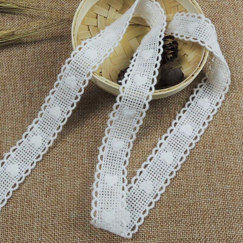 Fita de renda retrô de algodão natural, laço branco de renda, laço com coração, crochê, costura, faça você mesmo, artesanato-qx