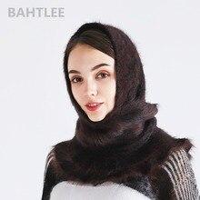 BAHTLEE hiver musulman femmes fille angora lapin turban hijab Poncho triangulaire châle tricoté écharpe véritable fourrure enveloppement cape