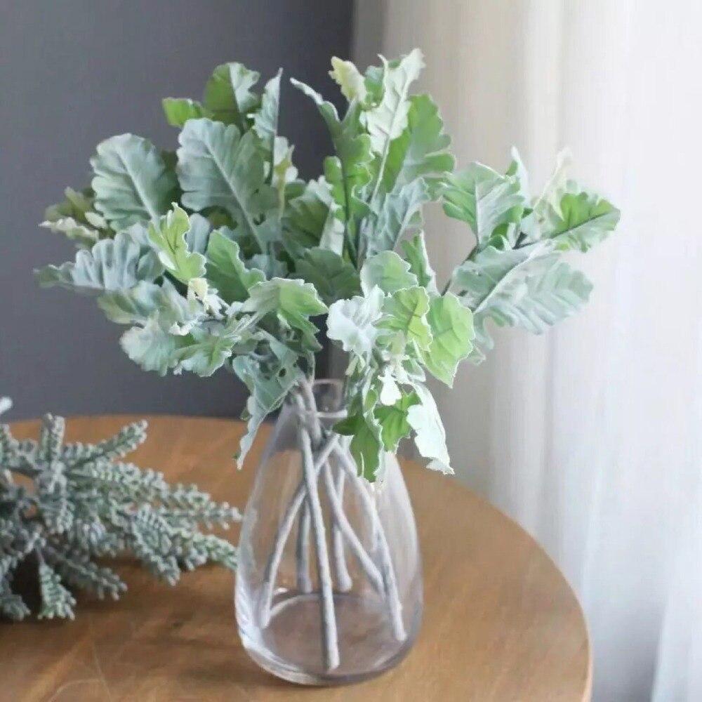 Новое поступление 32 см искусственная Хризантема лист Флокирование лист роза цветок композиция Свадьба бонкет Сделай Сам зеленый лист