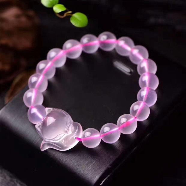 Envío Gratis pulsera con colgante de zorro de cristal claro cuarzo rosa estrella Natural 26*24*13mm AAA