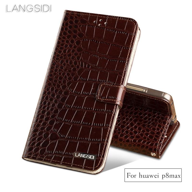 Wangcangli marca funda de teléfono cocodrilo tabby doble deducción funda de teléfono para Huawei P8Max Paquete de teléfono celular hecho a mano personalizado