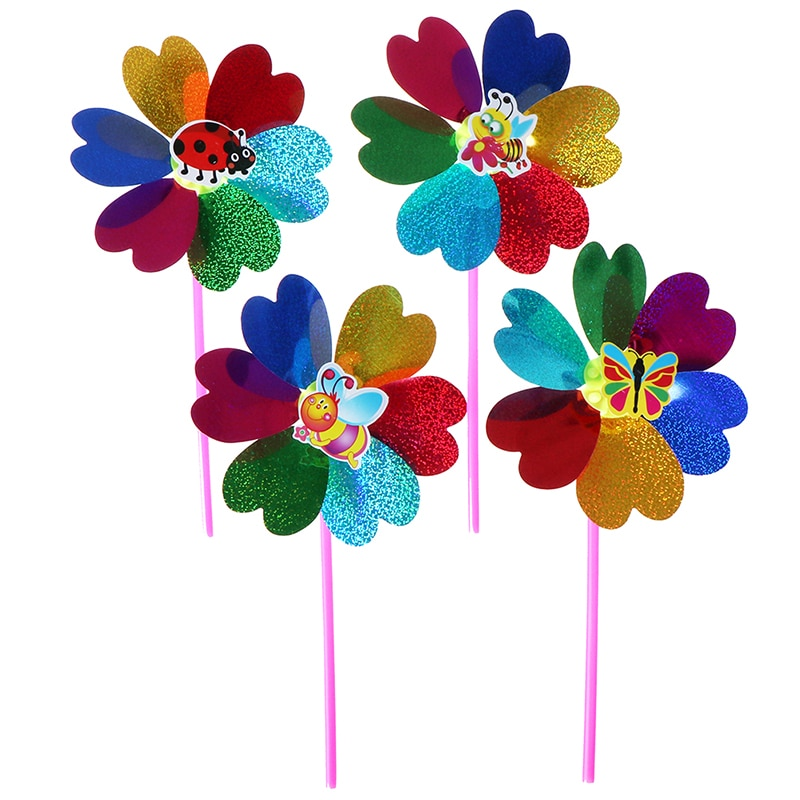 New 1PC Colorful Sequins Windmill Wind Spinner Home Garden Yard Decoration Kids Toy
