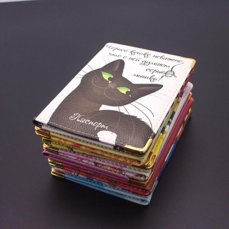Новинка 2018, обложки для паспорта с мультяшным котом, держатель для карт с русскими животными, женские дорожные обложки для паспорта, обложки...