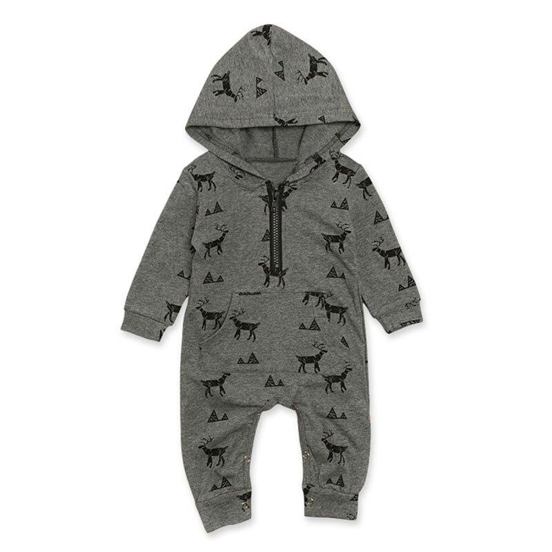 Focusnorm bebé Niño 0-3T algodón con capucha Reno manga larga mono ropa traje