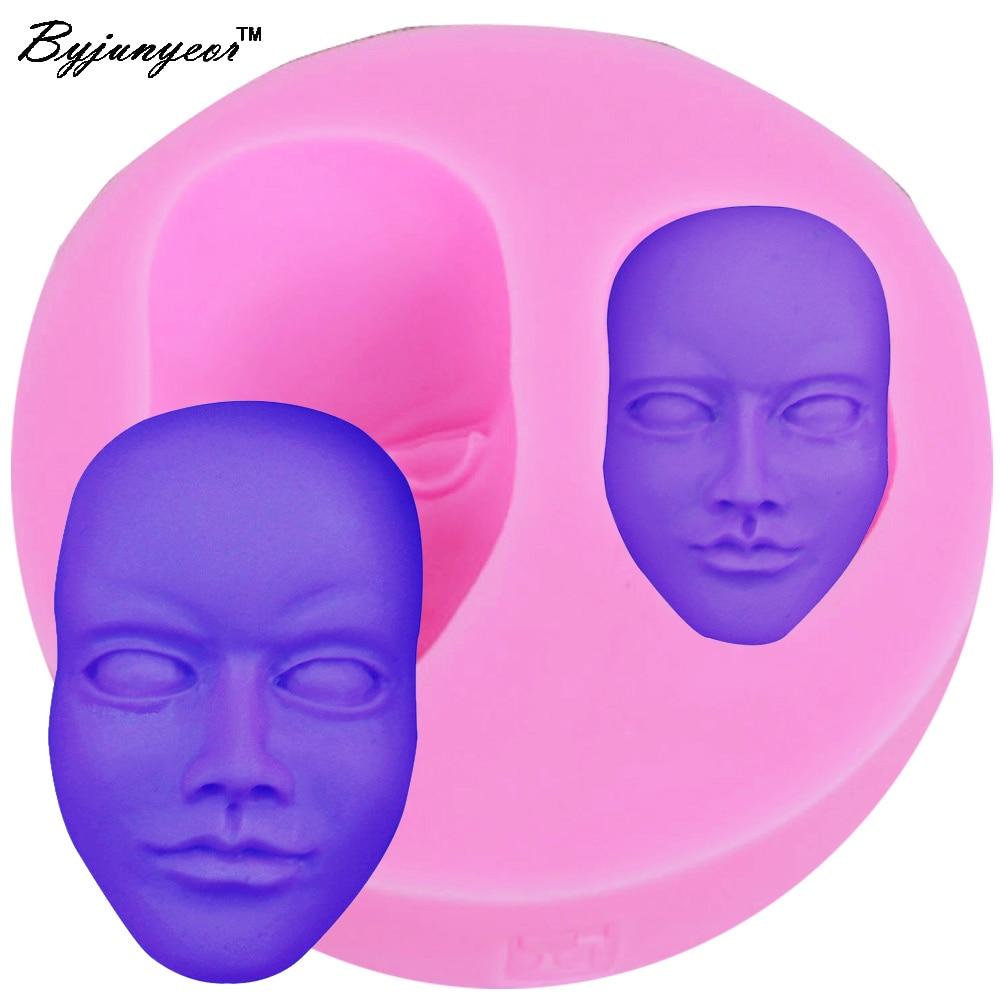 Byjunyeor m111 rosto cabeça uv resina silicone molde fondant chocolate doces lollipop cristal cola epoxy macio argila assar ferramentas