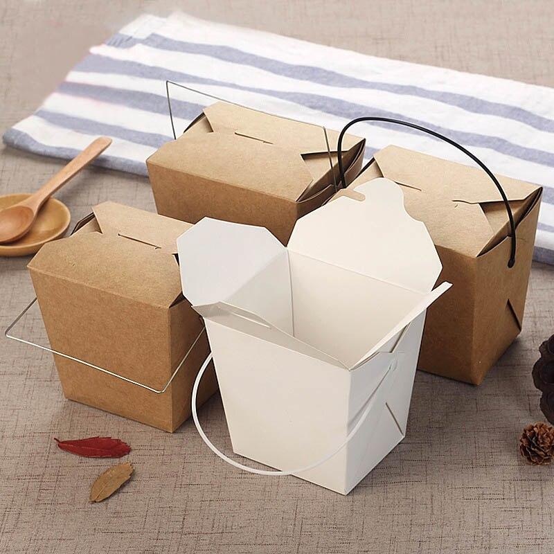 Caja de papel Kraft desechable, Asa portátil, taza para comida frita, para llevar pollo, soporte para patatas fritas, tazas, paquete de herramientas para restaurante, 40 Uds.