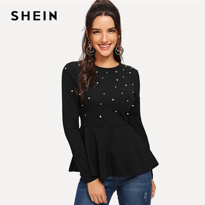 SHEIN Black Pearls Beaded Solid Peplum Top Elegant Round Neck Long Sleeve Flared Blouses Women Autumn Plain Minimalist Blouse