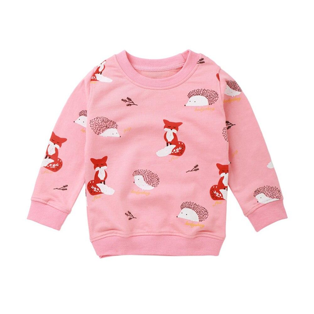 Bebê menina sweatshirts primavera roupas da criança do bebê menina dos desenhos animados casuais raposa t camisa de manga longa tshirt para a menina promoção roupas