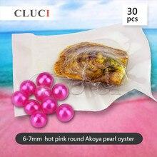 CLUCI couleur rose vif perles huîtres 6-7mm akoya perles colorées en gros perles rondes colorées vives WP095SB
