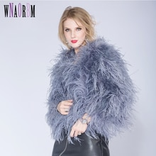 2021 Winter Ostrich Fur Jacket Feather Fur Coat Casual Long-sleeved Australia Imported Fur Ostrich J