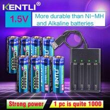 8 pièces 1.5 v 3000mWh sans effet mémoire aa batterie au lithium polymère li-ion rechargeable li-polymère + chargeur USB 4 fentes