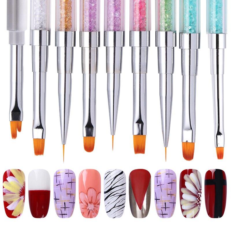 Dual-ended Nagel Pinsel Zeichnung Liner Malerei Stift Strass Griff UV Gel Nail Art Erweiterung Nail art Werkzeuge