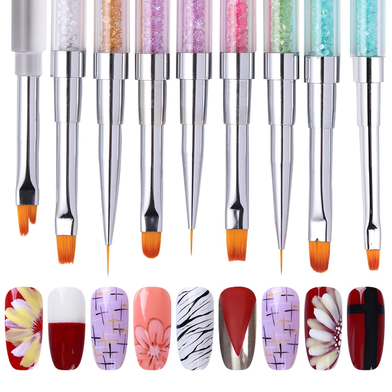 Pincel de dibujo para uñas de doble punta, pluma para pintar con delineador, mango de diamantes de imitación, accesorios Nail Art para extensión de Gel UV DE MANICURA