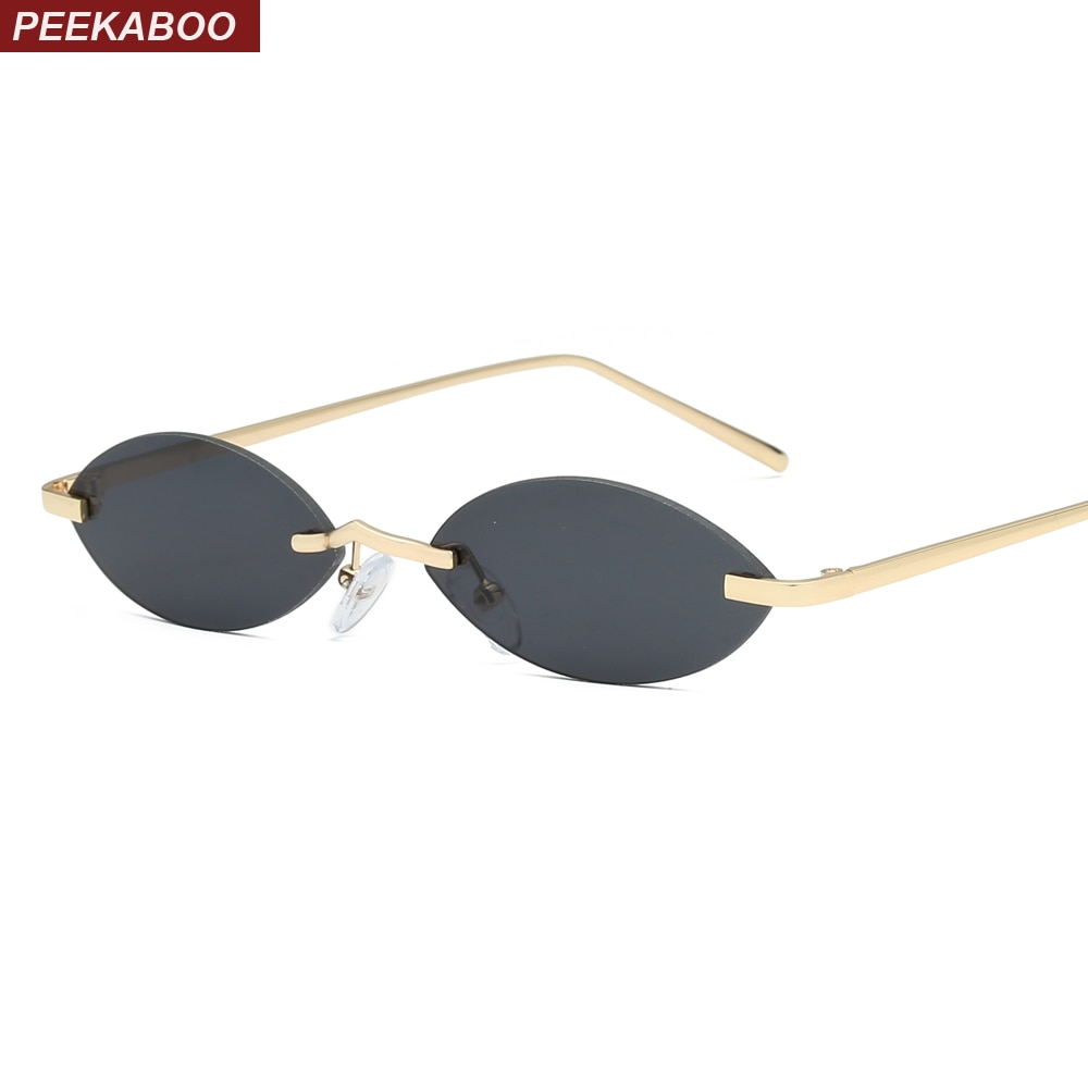Peekaboo vintage pequenos ovais óculos de sol feminino sem aro 2019 retro mini óculos de sol para homem espelho uv400 ouro metal azul vermelho