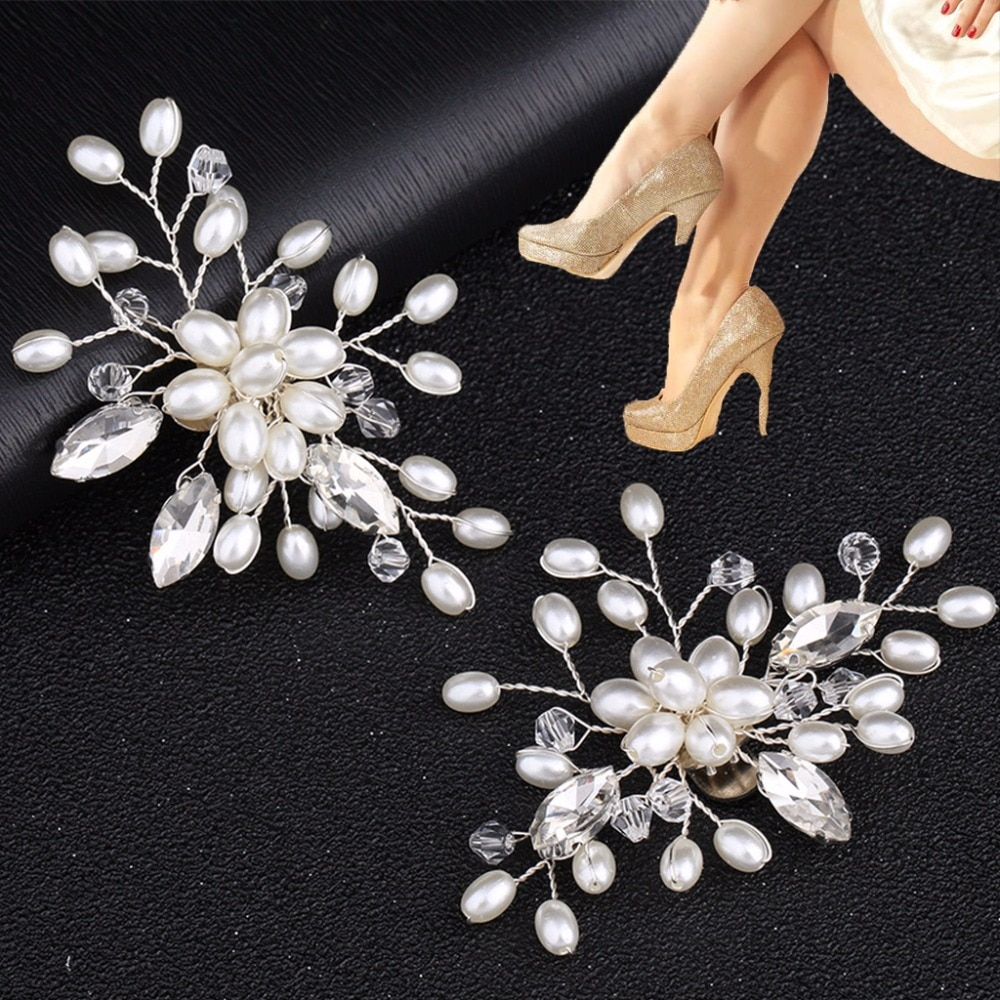 AliExpress - New  2Pcs Elegant Rhinestone Pearl Shoes Clips Flower Dress Hat Wedding Party Fashion