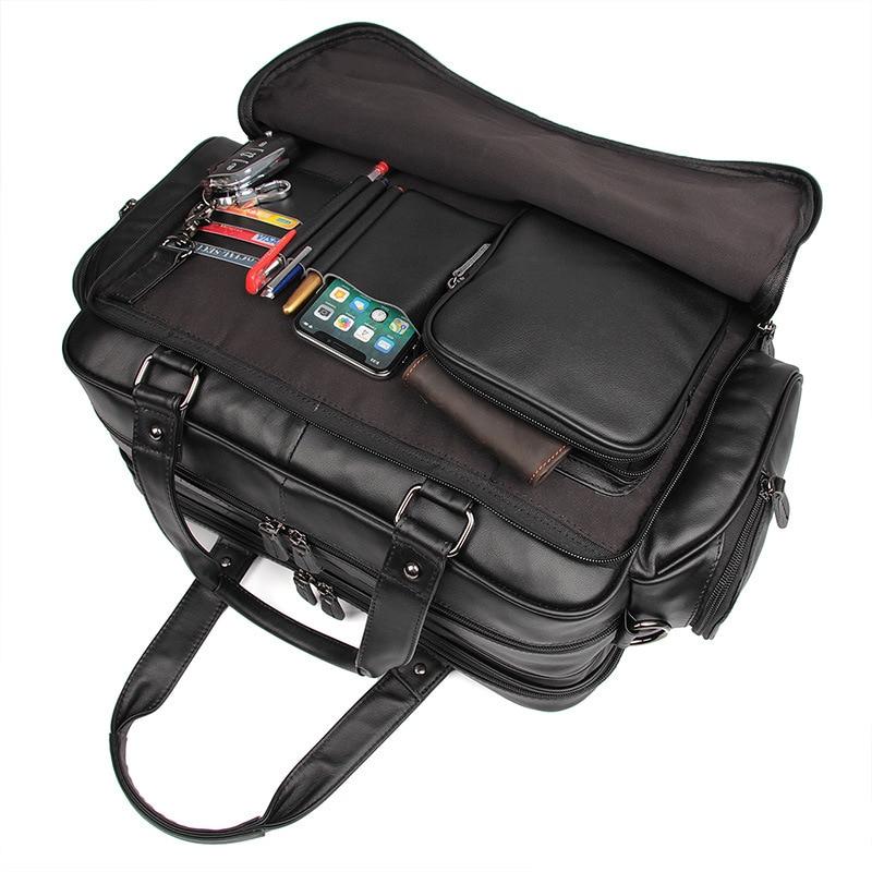 Портфель Nesitu из натуральной кожи для мужчин, черная вместительная сумка-мессенджер для ноутбука 15,6 дюйма, деловая дорожная сумка, M7150
