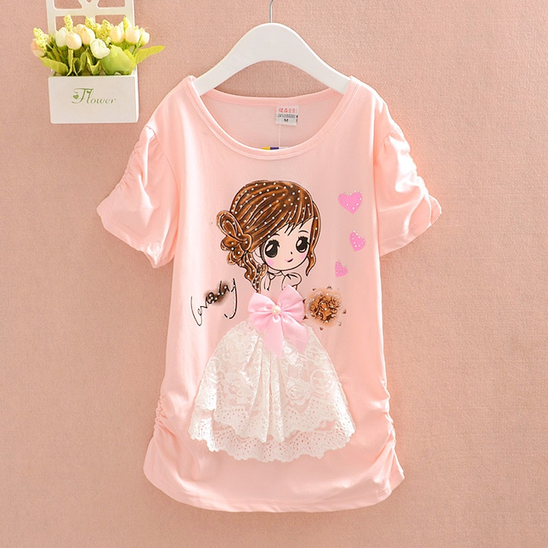 New Arrival Girls T Shirt Short Sleeve Kid Cotton Princess Tops 12 Years Birthday Shirt Cartoon Clothes Children Summer Clothing