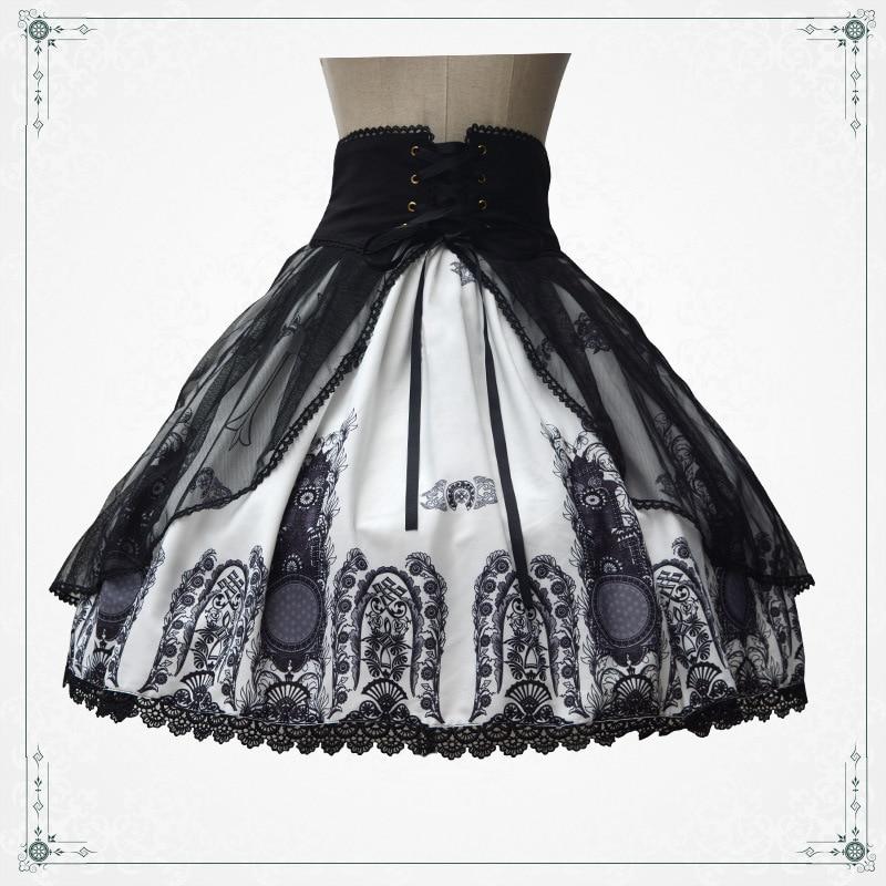 Юбка в стиле «панк», «Лолита», с принтом в виде храма, в стиле ретро, с короткой готической юбкой со шнуровкой на талии