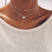 Nouveau petit coeur collier ras du cou pour les femmes or argent couleur chaîne petit amour collier pendentif sur le cou bohème Chocker collier