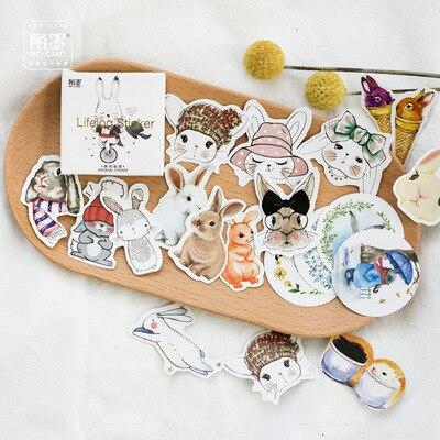 45 unids/pack Hola conejo pegatinas de adhesivo pegatinas de decoración DIY diario caja de pegatinas paquete