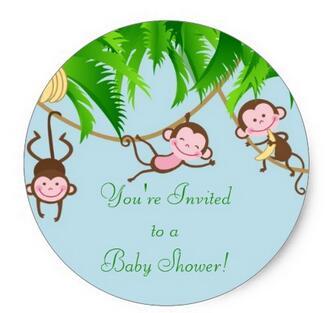1.5inch You're Invited Baby Monkeys Baby Shower Sticker