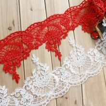 White/Red Car-bone Lace Decoration Lace Trim Wedding Dress Fabric Width 17cm 1Y/lot