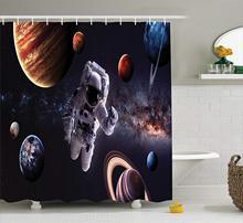 Espace extra-atmosphérique rideau de douche astronaute entre planètes Mars Neptune Jupiter Plasma sphère éthérée photo tissu bain