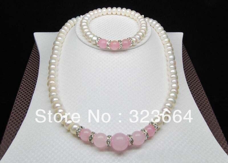 ¡Caliente vender! Conjuntos de joyas de perlas blancas AAA de 8-9mm