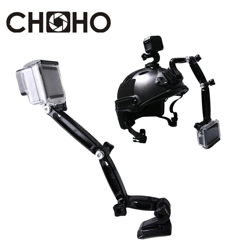 Self Selfie Stick Helmet Extension 3 way Arm Accessories with Buckle Mounts Adhesive for gopro HERO 7 6 5 4 8 Xiaomi Yi 4K SJCAM