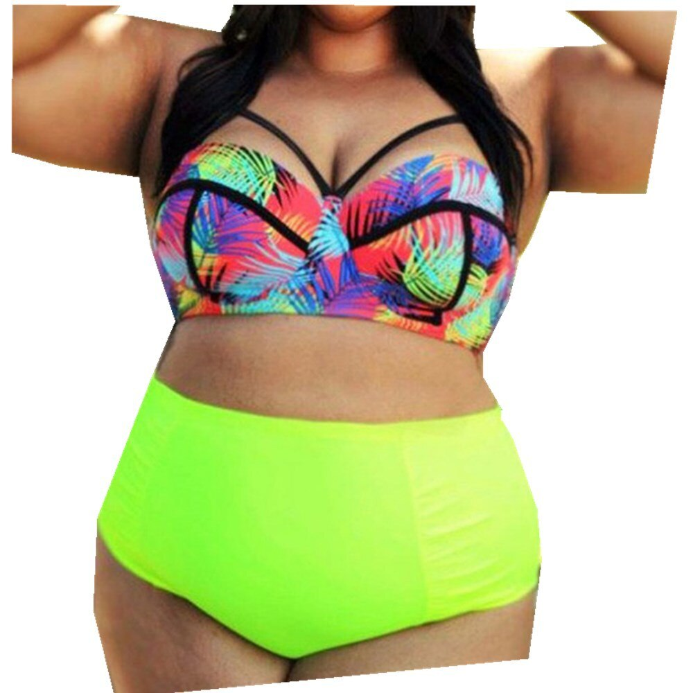 Conjunto de biquíni neon verde feminino, maiô de cintura alta, roupa de banho estilo push up, maiô, moda praia, plus size 3xl, 2019 4xl 5xl